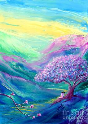 Spring Branch Painting - Meditation In Mauve by Jane Small