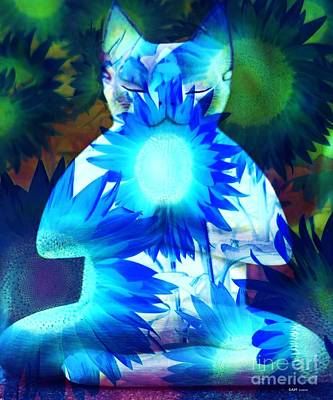 Concentration Digital Art - Meditation Kitty / Midnight Meditations On The Blue Sunflower by Elizabeth McTaggart