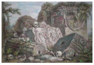 Drawing - Meditation On Ruins by Paez  Antonio