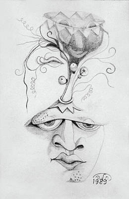 Drawing - Meditation On The Crown Chakra Or Where Is Your Mind Going Surrealistic Fantasy Of Face With Energy  by Rachel Hershkovitz
