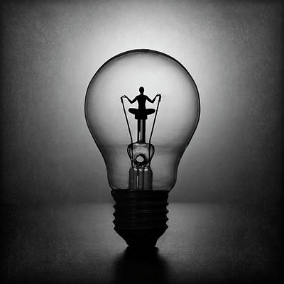Light Bulb Wall Art - Photograph - Meditation. The Inner Light. by Victoria Ivanova