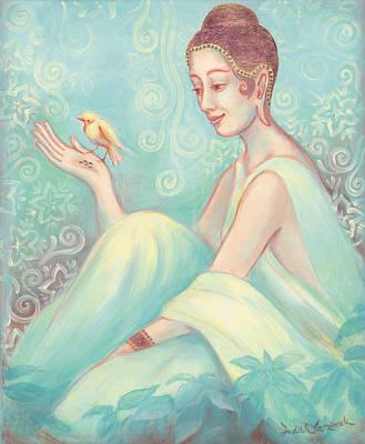 Observer Painting - Meditation With Bird by Judith Grzimek