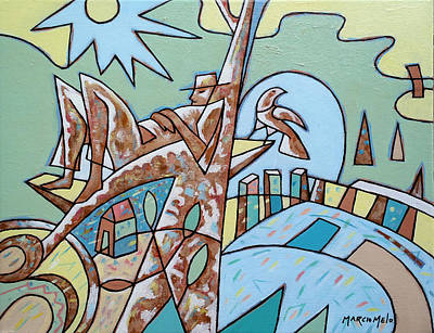 Arch Shapes Painting - Meditative Nature 2 by Marcio Melo