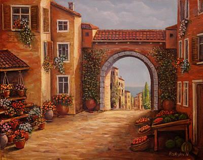 Painting - Mediterranean Bazaar by Radoslav Nedelchev