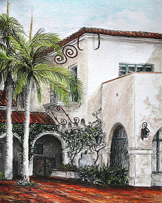 Drawing - Mediterranean Courtyard  by Danuta Bennett