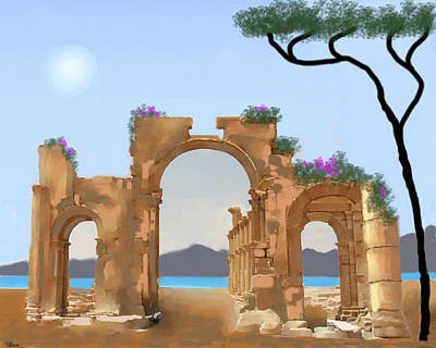 Greece Painting - Mediterranean Ruins by Larry Cirigliano