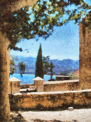 Mediterranean Sea View Art Print by Pixel Chimp