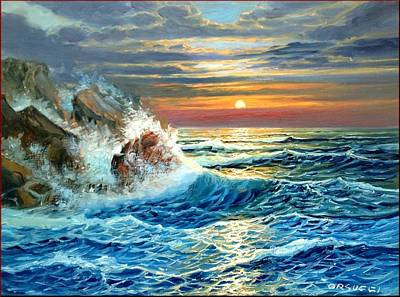 Contempory Art Galleries In Italy Painting - Mediterranean Seastorm by M Orsucci