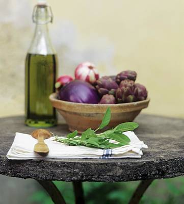 Mediterranean Still Life With Vegetables, Herbs And Olive Oil Art Print