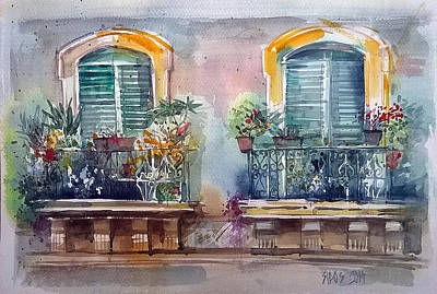 Mood Painting - Mediterranean Terrace Couple. by Lorand Sipos