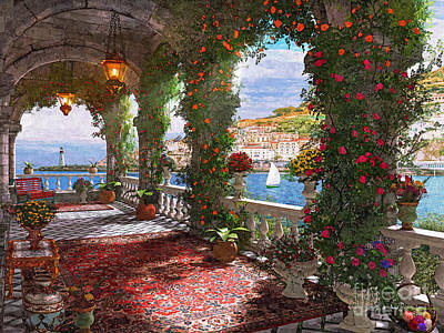 Relax Digital Art - Mediterranean Veranda by Dominic Davison
