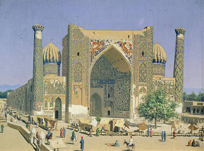 Central Asia Photograph - Medrasah Shir-dhor At Registan Place In Samarkand, 1869-70 Oil On Canvas by Vasili Vasilievich Vereshchagin