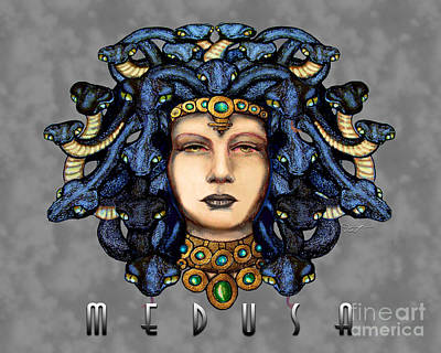Gorgon Drawing - Medusa 2 Steel by Dia T