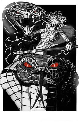Medusa Drawing - Medusa by Ed Wallace