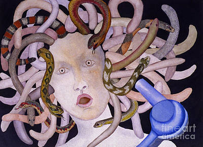 Painting - Medusa With Blowdryer by Patricia  Tierney