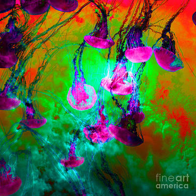Medusas On Fire 5d24939 Square P128 Art Print by Wingsdomain Art and Photography
