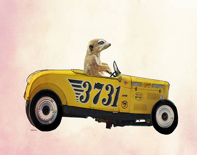 Meerkat Digital Art - Meerkat And Hot Rod by Kelly McLaughlan