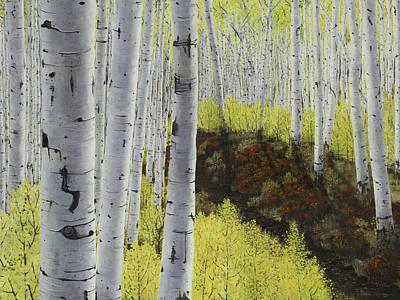 Meet Me At Our Secret Spot Where The Huckleberries Dance Within The Aspen Grove Art Print by Betsie Richardson