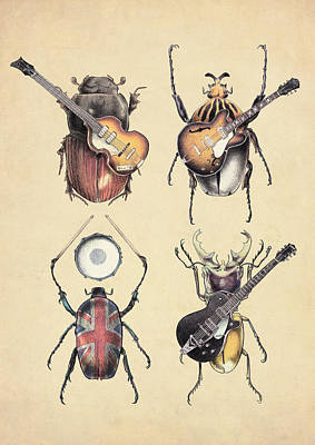 Bass Drawing - Meet The Beetles by Eric Fan