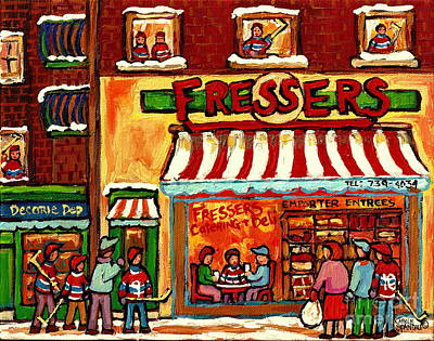 Store Fronts Painting - Meet Up At Fressers After The Hockey Game Montreal Winter City Scenes Painting Carole Spandau by Carole Spandau