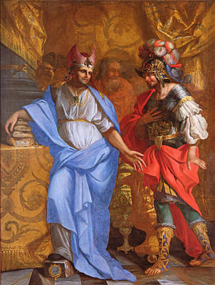 Abraham Photograph - Meeting Between Abraham And Melchizedek Oil On Canvas by French School