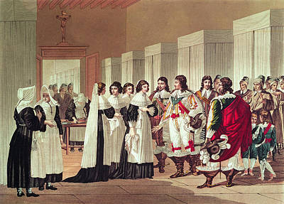 Meeting Between Louis Xiii 1601-43 And Marie-louise Motier De La Fayette 1615-65 At Lhotel-dieu Art Print