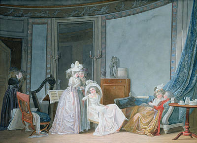 Meeting In A Salon, 1790 Gouache On Paper Art Print by Jean Baptiste Mallet