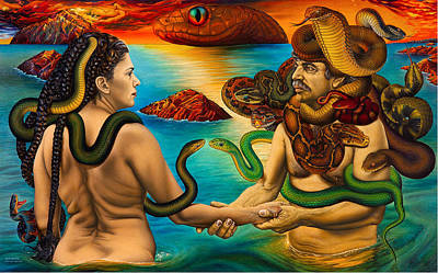 Moshe Painting - Meeting  In  The  Snakes  Islands by Moshe Rosental