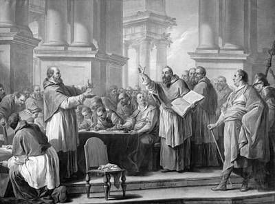 Meeting Of St. Augustine And The Donatists Oil On Canvas Bw Photo Art Print by Carle van Loo