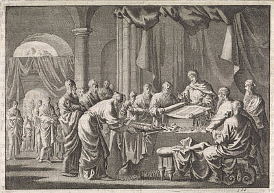 Ptolemy Drawing - Meeting Of The 72 Translators Of The Law On The Orders by Jan Luyken And Pieter Mortier