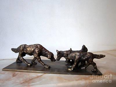 Nikola Litchkov Sculpture - Meeting Of The Dogs by Nikola Litchkov