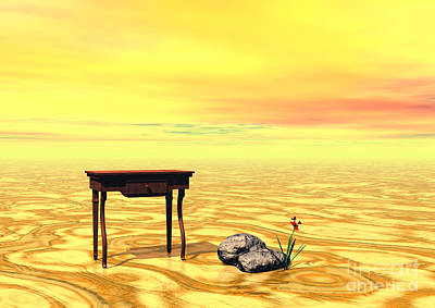 Art Print featuring the digital art Meeting On Plain - Surrealism by Sipo Liimatainen