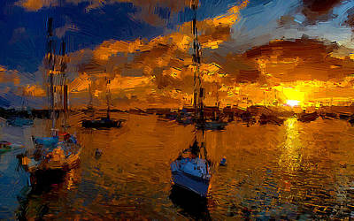 Seascape Painting - Boats At Sunset by VRL Art