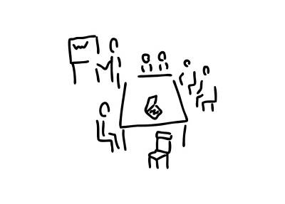 Office Space Drawing - Meeting With Presentation Occupation by Lineamentum