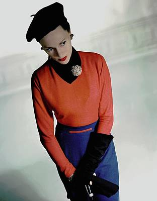 Meg Mundy In Valentina Shirt Art Print by Horst P. Horst