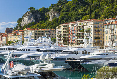 Mega Yachts In Port Of Nice France Art Print