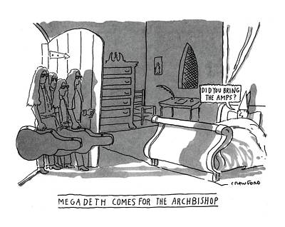 Rock Groups Drawing - Megadeath Comes For The Archbishop 'did You Bring by Michael Crawford