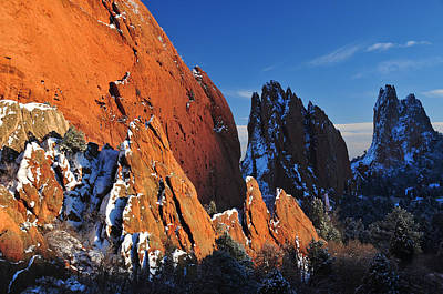 Megaliths With Snow At Sunset Art Print by John Hoffman