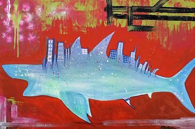 Sharks Painting - Megalodon Metropolis  by Laura Barbosa