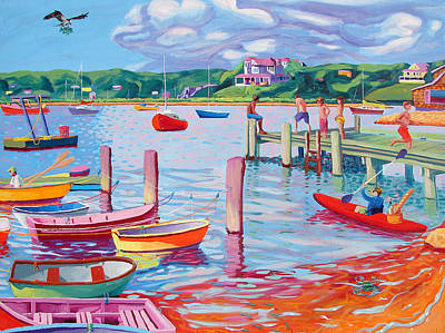 Megansett Dock With Osprey Art Print by Sean Boyce