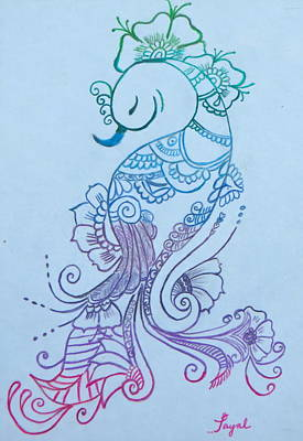 Drawing - Mehndi Peacock by Artistic Indian Nurse