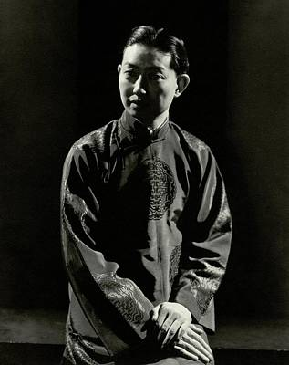 Chinese Embroidery Photograph - Mei Lanfang Wearing A Chinese Jacket by Edward Steichen