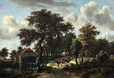 Meindert Hobbema Painting - Meindert Hobbema Dutch, 1638 - 1709, The Travelers by Quint Lox