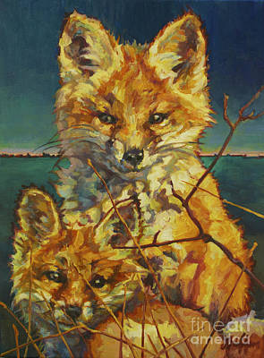 Fox Kit Painting - Mel And Todd by Patricia A Griffin
