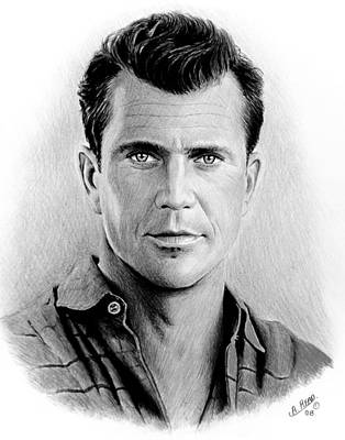 Featured Images Drawing - Mel Gibson Bw by Andrew Read