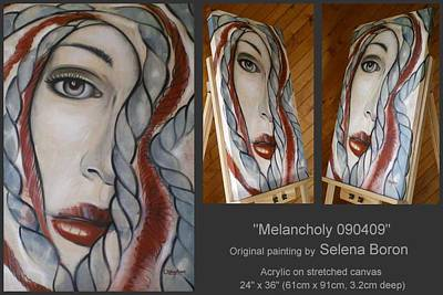 Art Print featuring the painting Melancholy 090409 by Selena Boron