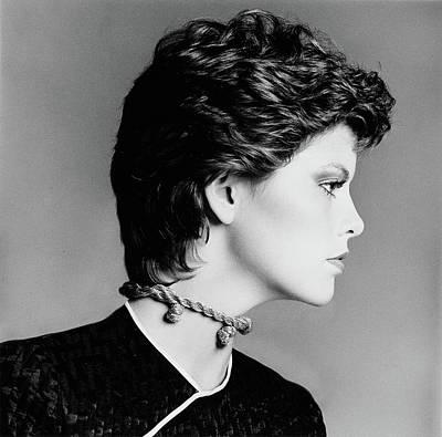 Hair Stylists Photograph - Melanie Cain Wearing A Rope Choker And Hair by Francesco Scavullo