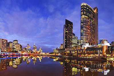 Melbourbe Skyline And Yarra River At Twilight Square Art Print by Colin and Linda McKie