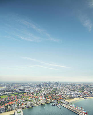 Photograph - Melbourne City Ariel Skyline by Aaron Foster