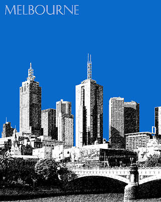 Melbourne Skyline 1 - Blue Art Print